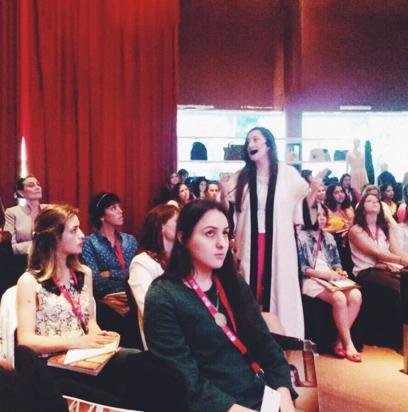 En el auditorio, durante la charla.